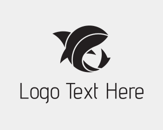Black Abstract Shark Logo