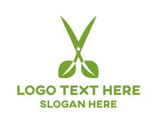 Beauty Salon - Leaf Scissors logo design