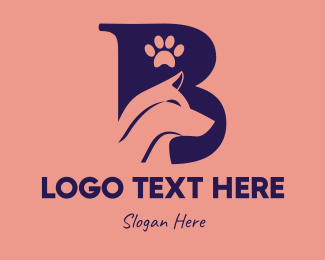 Dog Walker - Dog Letter B logo design