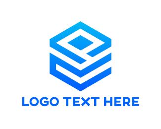 Pattern - Blue Cube Pattern logo design