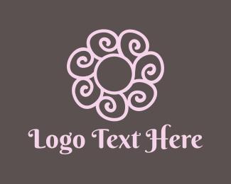 Gardener - Spiral Pink Flower logo design