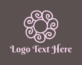 Bloom - Spiral Pink Flower logo design