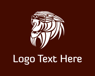 Tribal - White Wild Lion logo design