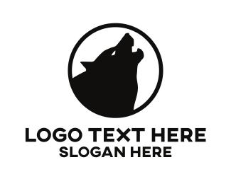 Moon - Howling Wolf logo design