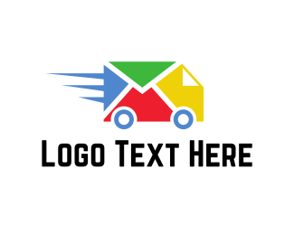Van - Colorful Delivery Truck logo design