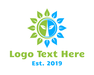 Botanist - Green Blue Sun Flower logo design
