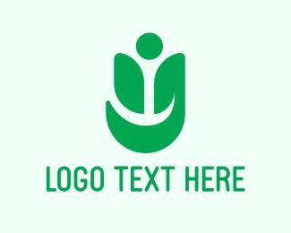 Negative Space - Human Leaf logo design