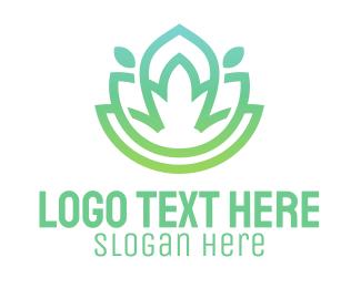 Relax - Gradient Green Flower Outline logo design