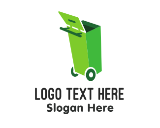 Rubbish - Green Garbage Can logo design