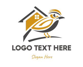 Chickadee - Golden  Bird House logo design