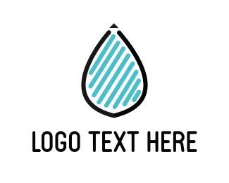 Rain - Drop & Lines logo design