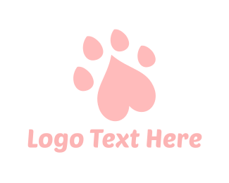 Paw - Heart Paw logo design