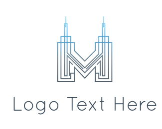 New York - Letter M Building logo design
