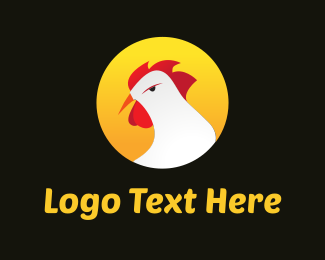 Crest - White Rooster Cartoon logo design