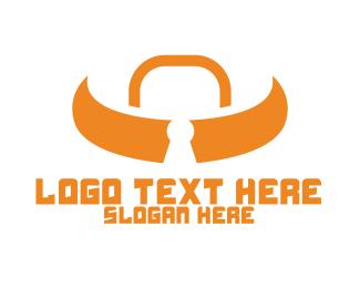 Ox - Orange Bull Lock logo design