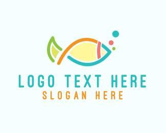 Diver - Colorful Fish Outline logo design