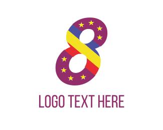 Number - Purple Eight logo design