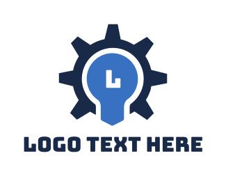 Lettermark - Gear Bulb Lettermark logo design