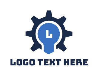 Machinery - Gear Bulb Lettermark logo design