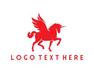 Mythology - Red Unicorn logo design