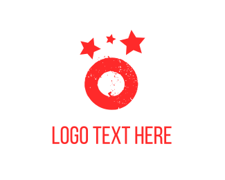 Letter O - Red Planet & Stars logo design