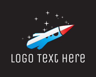 Universe - Blue Space Rocket  logo design