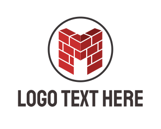 Brick - M Wall logo design