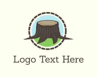 Carpentry - Wood Stump logo design