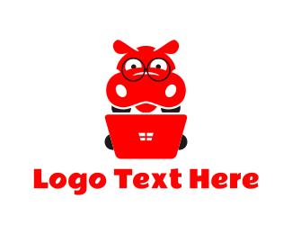 Hippopotamus - Nerd Hippo logo design