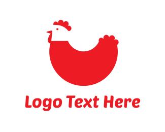 Egg - Red Chicken logo design