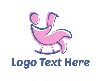 Relax - Pink Rocking Chair logo design
