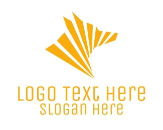 Wolf - Geometric Yellow Wolf logo design