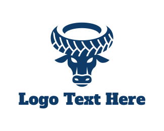 Cow - Wheel Bull logo design