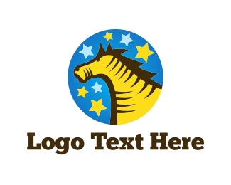 Equestrian - Yellow Horse logo design