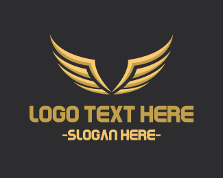 Aeronautics - Gold Abstract Wings logo design