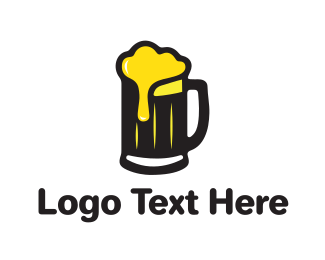Pub - Golden Foaming Beer Mug logo design