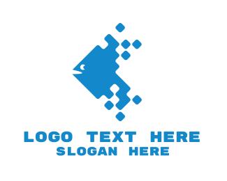 Pixelated - Blue Digital Fish logo design