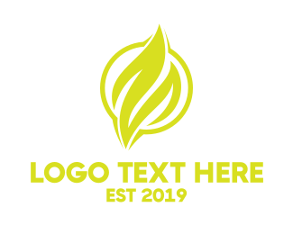 Heat - Yellow Flame Emblem logo design