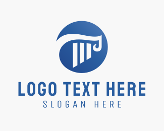 Pillar - Blue Column logo design