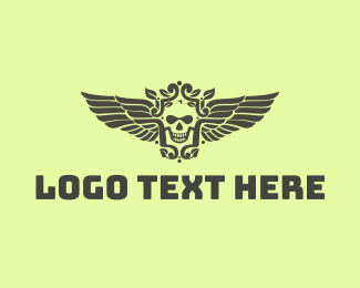 Airforce - Classy Skull Wing  logo design