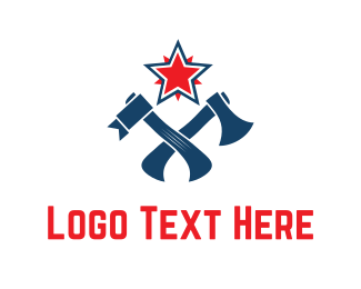Battle - Red Star & Axes logo design