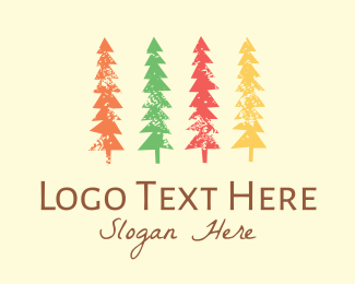Pine Tree - Colorful Trees logo design