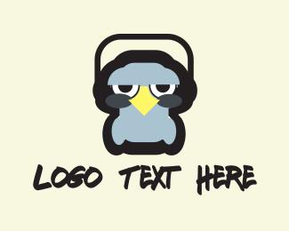 Funny - Bird & Headphones logo design