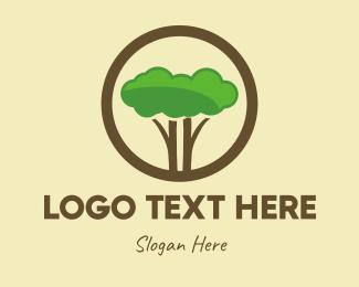 Flat - Green Tree Circle logo design