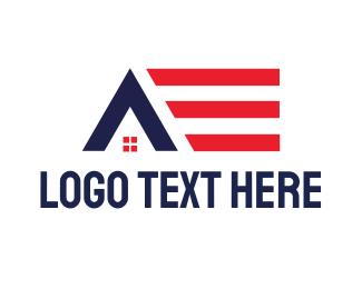 American - American House logo design
