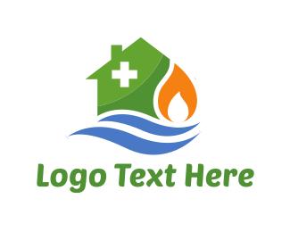Flame - House Repair logo design