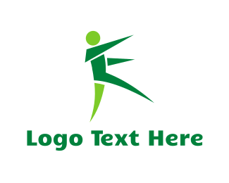Run - Origami Green Man logo design