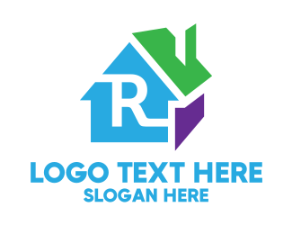 Day Care - Colorful 3D House R logo design