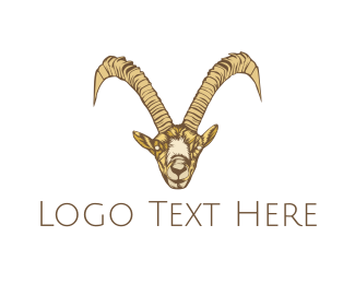 Cattle - Wild Brown Goat logo design
