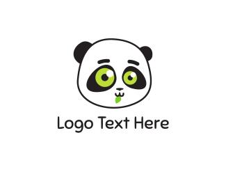 Panda - Cute Green Panda  logo design